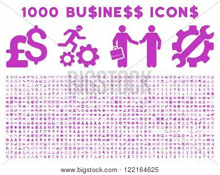 1000 Business vector icons. Pictogram style is violet flat icons on a white background. Pound and dollar currency icons are used