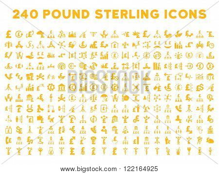 240 British Business vector icons. Style is yellow flat symbols on a white background. Pound sterling icon is basic element.