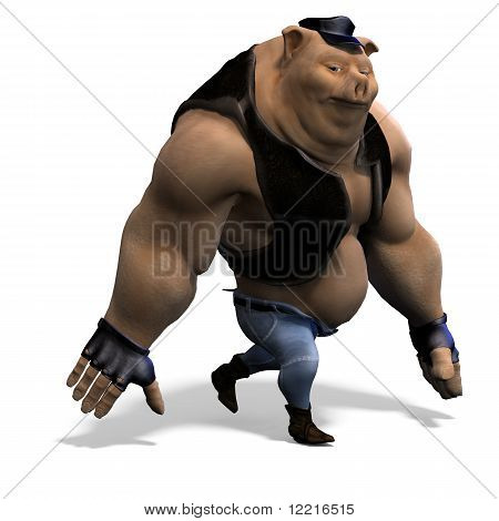 toon animal big pig as a biker. 3D rendering with clipping path and shadow over white poster