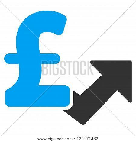 Pound Growth vector icon. Pound Growth icon symbol. Pound Growth icon image. Pound Growth icon picture. Pound Growth pictogram. Flat pound growth icon. Isolated pound growth icon graphic.