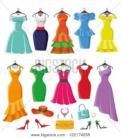 Woman dresses on a hsnger and accessories set.Summer party. Short and long elegant bright color design, ten lady dress , handbags, hat, shoes collection.Vector art image illustration, isolated on background