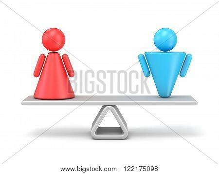 Abstract concept of gender equality. 3D render illustration isolated on white background