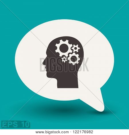 Pictograph of gear in head. Vector concept illustration for design. Eps 10