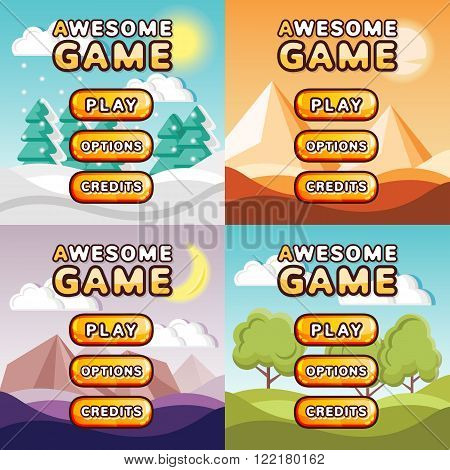 Main menu game interfaces kit. Winter forest, desert, mystery canyon, sunny hills backgrounds. Creative ui templates, buttons, backgrounds for web, mobile and computer video games. Vector illustration