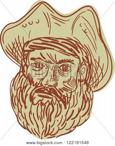 Drawing sketch style illustration of a head of a bearded pirate wearing hat viewed from front set on isolated white background.