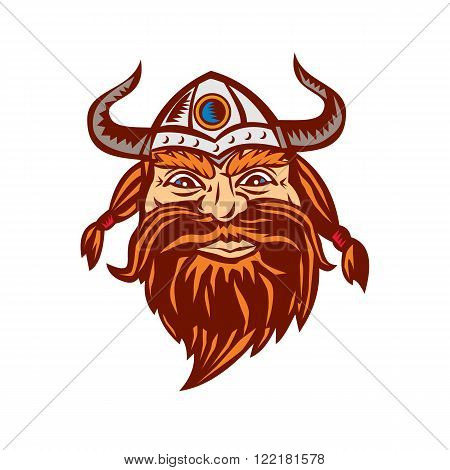 Illustration of a head of a norseman viking warrior raider barbarian wearing horned helmet with beard viewed from the front set on isolated white background.