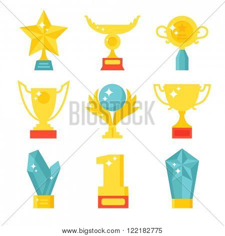 Award medal icons and gold award emblem cartoon award icons vector. Trophy and awards icons set flat vector illustration.