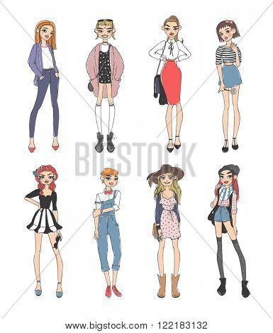 Beautiful young fashion girls dressed casual sketch glamour stylish clothes and fashion sketch girls clothes look models. Fashion casual girls pure beauty colored cartoon sketch flat vector