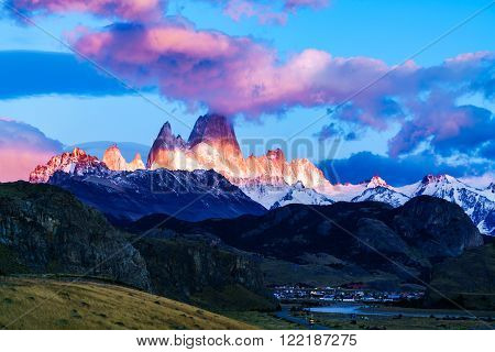Fitz Roy mountain and El Chalten Village in the morning