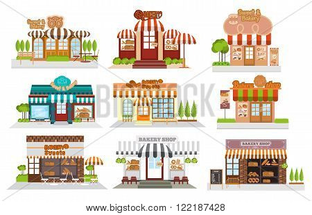 Cafe restaurantbakery shop pizza cafe coffee Flat vector illustration stock set