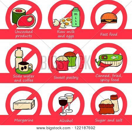 Set of food to avoid during pregnancy in hand drawn style