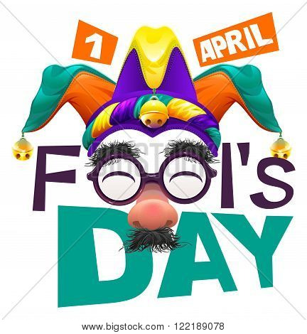 Funny glasses nose. April Fools Day lettering text for greeting card. 1 April Fools Day. Isolated on white vector illustration