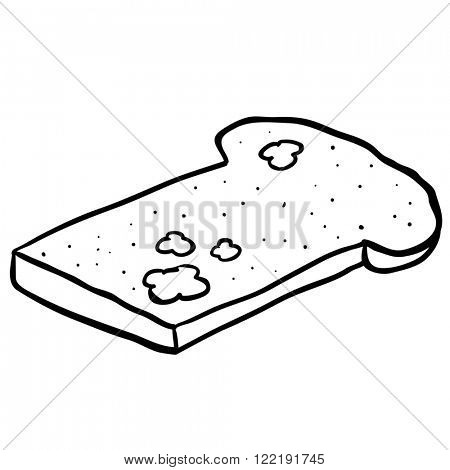 simple black and white freehand drawn cartoon mouldy bread