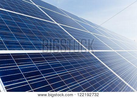 Solar panel uner blue sky