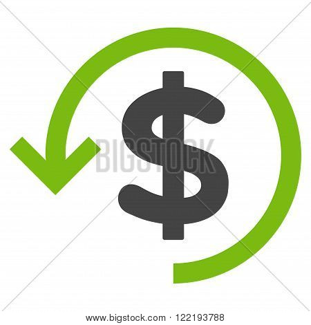 Rebate vector icon. Picture style is bicolor flat refund icon drawn with eco green and gray colors on a white background.