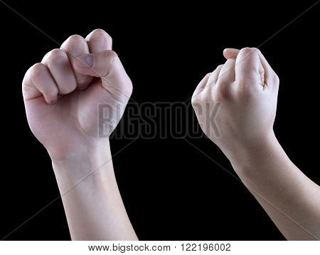 threats and gestures of solidarity hand on a black background