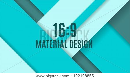 Color Background Unusual Modern Material Design. Format 16:9. Abstract Vector Illustration.