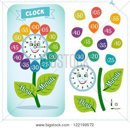 Telling time worksheet for school kids to identify the time. Clock sticker. Game for children