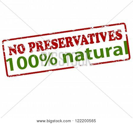 Rubber stamp with text no preservatives one hundred percent natural inside vector illustration