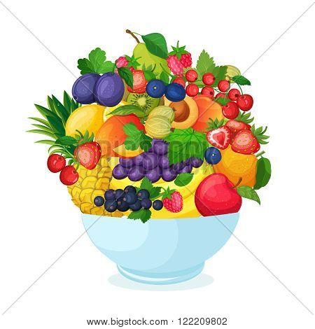 Bowl of cartoon fresh  fruit and berries.  Apple pear banana mango currant strawberry pineapple cherry plum peach vector illustration.