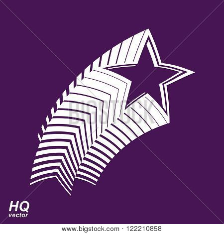 Astronomy conceptual illustration pentagonal comet star, celestial object with decorative comet tail. Superstar icon. Armed forces design element.