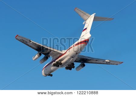 NORILSK RUSSIA - APRIL 20: Aircraft operated by Nordstar is landing at the airport in Norilsk on April 20 2013. The company in its fleet has 9 aircraft Boeing-737
