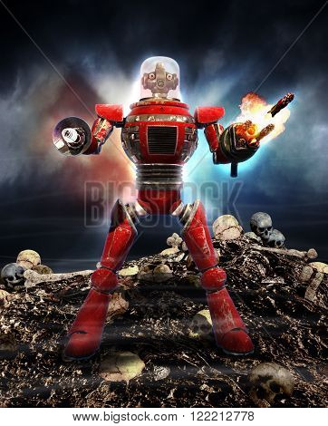 Intelligent humanoid robot exterminates the human race.