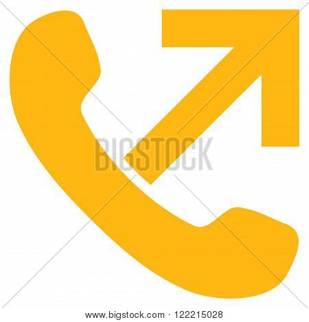 Outgoing Call vector icon. Picture style is flat outgoing call icon drawn with yellow color on a white background.