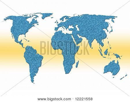 Textured filled outline world map over white yellow background