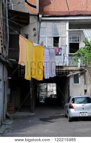 TBILISI, GEORGIA - JUNE 15, 2015: Courtyard in the center of the capital of Georgia Tbilisi