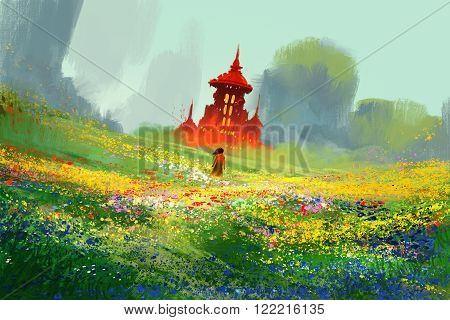 woman in flower fields next to red castle and mountainillustration painting