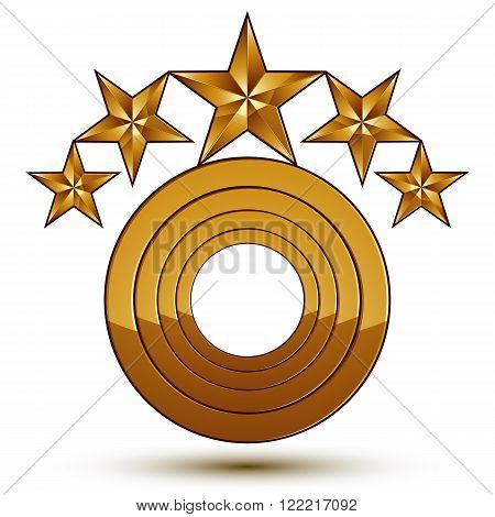 Heraldic 3D Glossy Icon Can Be Used In Web And Graphic Design, Five-pointed Golden Stars, Clear Eps
