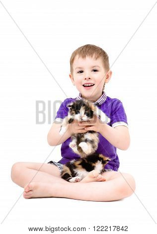 Happy kid playing with kittens isolated on white background