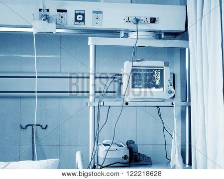 Hospital laboratory equipment, ECG ICU, blue tone picture