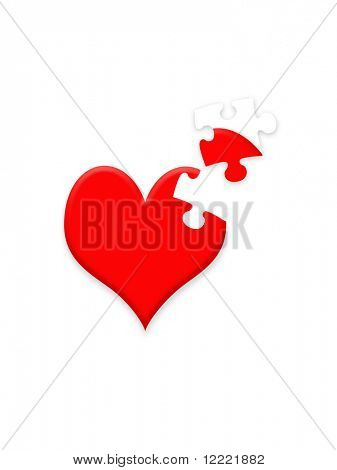 Valentine illustration showing heart with missing jigsaw piece