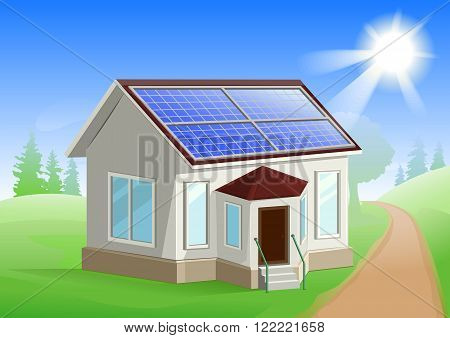 Solar energy. Caring about environment. House with solar panels on roof. Alternative energy sources. Illustration in vector format