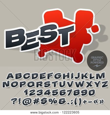 Sticker style logo for for car and motorcycle store. Vector set of letters and numbers