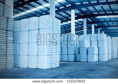 interior of a warehouse in a textile factory.