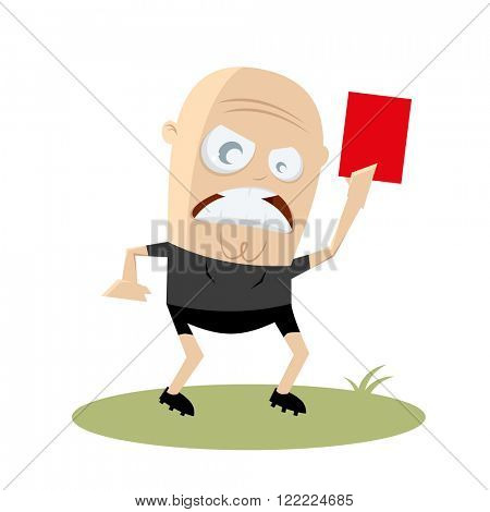angry referee showing red card