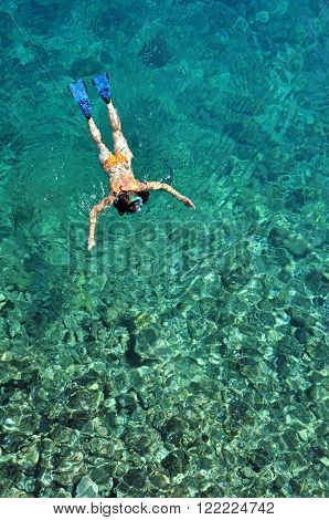 Young Woman Snorkeling In Transparent Shallow Sea