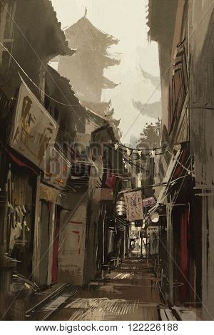 Chinatown alley with traditional Chinese buildings, illustration painting