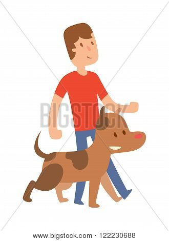 Best friend little boy with dog . Friend looking with dog. Boy and brown dog Best friend . Best friend cute together. Young Best friend with dog isolated on white background.