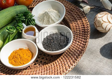 Thai style aromatherapy spa herbs elements and ingredients.