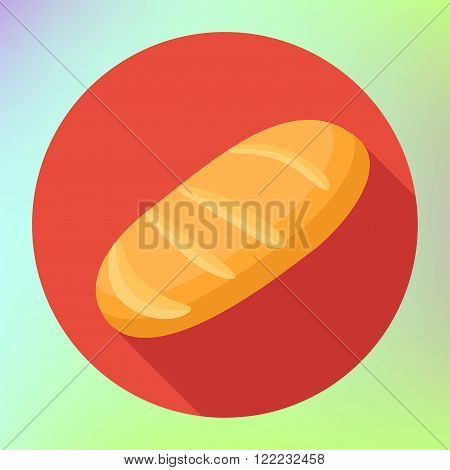 Loaf flat long shadow style vector icon. Bread flat icon with long shadow. Bread loaf icon, sign icon, vector illustration. Bread symbol. Flat icon. Flat design style for web and mobile.