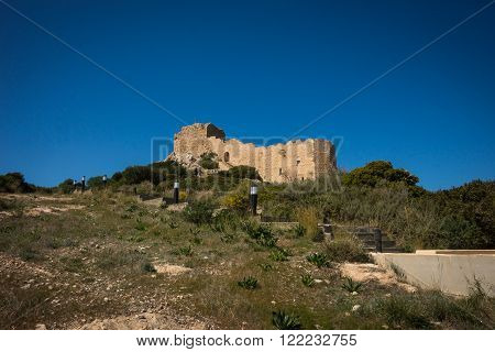 Kritinia castle at the top of the hill on Rodos Greece