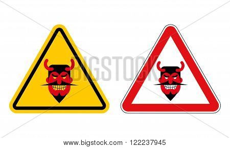 Warning sign attention devil. Hazard yellow sign Satan. Daemon on red triangle. Set of Road signs for hell