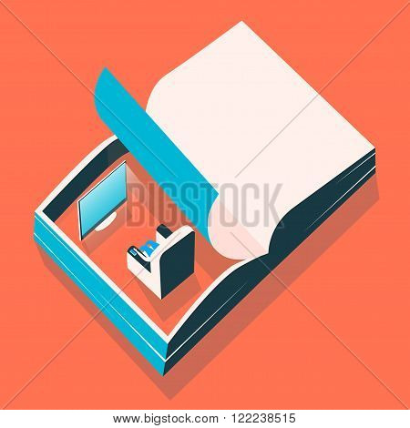 Open book. Everyday page. Vector illustration. Poster and t-shirt design.