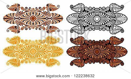 Art nouveau decorative element with sixties psychedelia and variations.