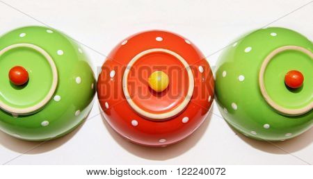 Polka dot bowls with cherry tomatoes on top