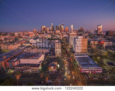 LOS ANGELES - Circa 2014: Aerial view of  historic Westlake neighborhood in the city of Los Angeles, California.